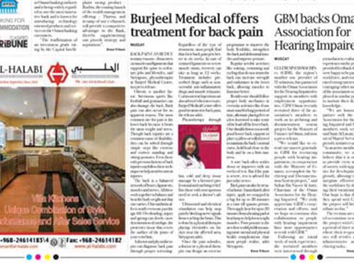 Burjeel Medical Centre - Oman is in major news featuring Ms. Siriyaporn Panyaborwornrat, Physiotherapist